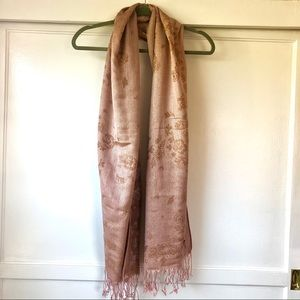 Accessories - Rose gold floral brocade scarf with fringe